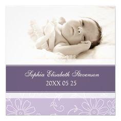 Purple Photo Template New Baby Birth Announcement