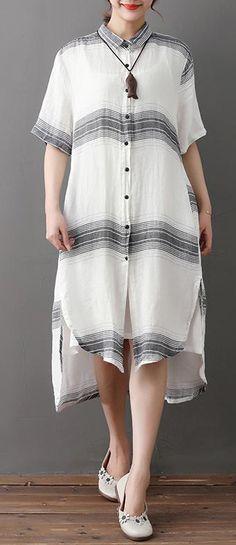 02c56c0af78 Elegant long linen dresses oversize Loose Stripe Single Breasted Short  Sleeve White Linen Dress