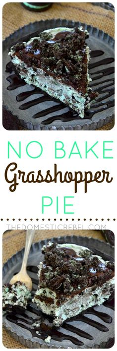 No Bake Grasshopper Pie   The Domestic Rebel   this is SO easy, SO creamy and SO fluffy! Packed with bright mint flavor, Oreo pieces and a chocolate ganache topping that's to die for!