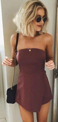 #summer #outfits / burgundy wrap dress