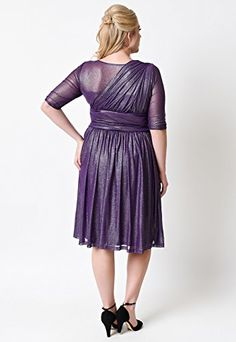 POSESHE Women's Plus Size Limited Edition Purple Sleeved Glimmer Retro Cocktail Dress