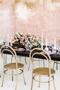 Wedding Reception romantic and modern take on Millennial pink tablescape Chair Photography, Pink Photography, Millenial Pink, Creative Wedding Ideas, Festa Party, Mod Wedding, Elegant Wedding, Dream Wedding, Deco Table