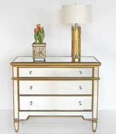 Diy Mirrored Furniture Dresser Gold Chest With Mirror