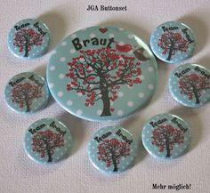 Set Button JGA – Herzbaum -Hochzeit - Kreawusel-handmade