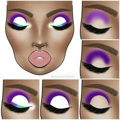 Advanced Eyeshadow Inspiration Face Chart - Famous Last Words Bold Eye Makeup, Creative Eye Makeup, Makeup Eye Looks, Eye Makeup Steps, Dark Skin Makeup, Bridal Makeup Looks, Eye Makeup Art, Colorful Eye Makeup, Eyeshadow Makeup