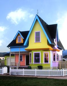 """The Up House"" in Herriman Utah. I actually pass this house a few times a week and it still makes me smile! Happy House, Up House, House Wall, Herriman Utah, Film Up, Colourful Buildings, Colorful Houses, Purple Houses, Little Houses"