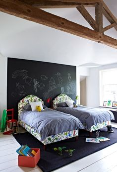 Blackboard paint at our latest photo-shoot is the back-drop to two of our single Kandahar beds
