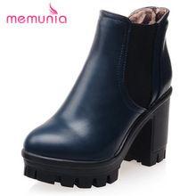 De gran tamaño 34-43 de la pu de cuero 2016 fashion ankle boots para las mujeres grueso tacones altos botas de plataforma punta redonda negro de las señoras(China (Mainland))