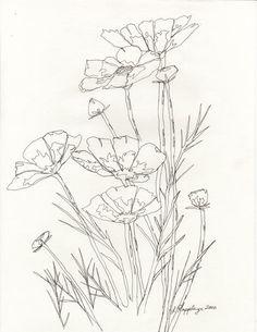 Simple Flower Drawing, Simple Line Drawings, Floral Drawing, Pencil Drawings Of Flowers, Flower Sketches, Art Drawings, Drawing Flowers, Tattoo Flowers, Art Flowers