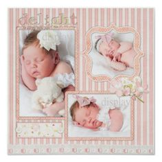 baby scrapped pages | Pink Stripe Baby Girl Three Photo Scrapbook Page Poster from Zazzle ...