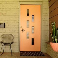 Orange Bertoia Mid Century Modern Doors - Midcentury atomic ranch house Sliding Doors. Vtg 1950s/1960s Front Entry Door: distinctive, modern entryway designs feature signature, iconic details with a vintage flair to nourish the nostalgic. Concrete Walls, Patios. Popular door designs, door knobs and door colors from the 1950's, 1960's—and inspiration for today. #Eichler #architecture #exterior #exteriors #home #homes #house #houses #design #landscaping #yard #backyard #patio #pool #pools