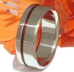 Thin Red Line Titanium Ring - r2