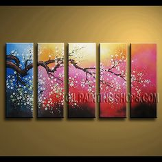 Stunning Contemporary Wall Art Hand Painted Oil Painting Gallery Stretched cherry blossom. This 5 panels canvas wall art is hand painted by Bo Yi Art Studio, instock - $155. To see more, visit OilPaintingShops.com