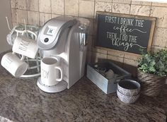 First I Drink the Coffee Sign Coffee Bar Sign Black Sign Coffee Bars In Kitchen, Coffee Bar Home, Coffee Bar Signs, Kitchen Small, Kitchen Island, Coffee Nook, Coffee Corner, Coffee Time, Morning Coffee