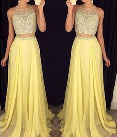 New Arrival Sexy Prom Dress Prom Dresses with Open Back 2 Pieces Beaded Party Dress