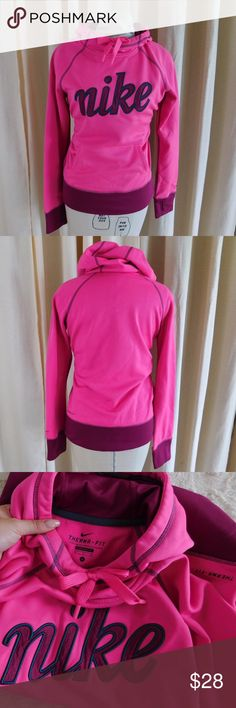 """Nike Thermafit Hoodie Sweatshirt In excellent like-new condition. Super soft and plush on the inside, these types of hoodies are perfect for chilly summer nights! Size small: Length: 24"""", sleeve length: 24"""", armpit-armpit: 19"""". 100% polyester. Smoke/pet free home. Ask all questions before buying💓 NO trades!❌🙅🏻 Bundle for a discount!🎉 Nike Sweaters"""