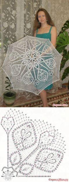 Umbrella hook - all in openwork . Thread Crochet, Crochet Motif, Crochet Designs, Crochet Crafts, Crochet Doilies, Crochet Stitches, Crochet Projects, Knit Crochet, Crochet Patterns