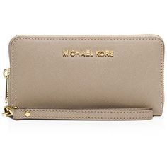 Michael Michael Kors Tech Wristlet - Large Multi Function ($98) ❤ liked on Polyvore featuring bags, handbags, clutches, dark dune, brown wristlet, wristlet purse, michael michael kors wristlet, brown purse and saffiano leather handbag