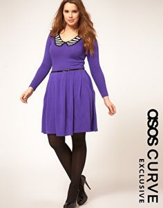 ASOS CURVE Exclusive Knitted Dress With Stripe Collar  $63.63