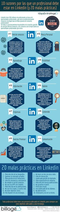 10 razones para que un profesional esté en Linkedin (y 20 malas prácticas) #infografia