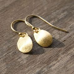 Tiny Brushed Gold Teardrop Earrings  Small Droplet Tear by burnish
