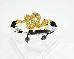bracelets shamballa-shambala serpent perles hématite strass diamant rose jaune