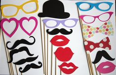 100 PhotoBooth Props Mustache Lips Glasses  by PhotoBoothgirls, $100.00