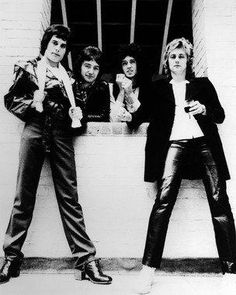 Queen Band Freddie Mercury Brian May John Deacon and Roger Taylor B/W 8x10 Photograph