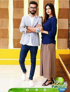 Lovely Anum Fayaz with her husband Asad Anwar in Jago Pakistan Jago. ⚡