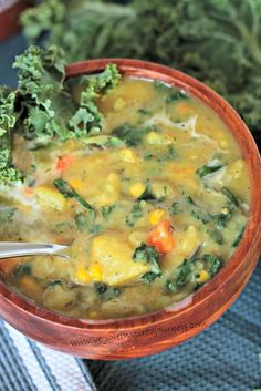 Creamy Dairy Free Potato Soup with Kale-use plant milk instead of coconut milk. Instant pot for 4 minutes, add kale while still hot. Only thing I would change is remove the corn :) Dairy Free Recipes, Vegetarian Recipes, Vegan Soups, Gluten Free, Vegan Food, Dairy Free Soup, Vegetarian Diets, Pressure Cooker Recipes, Pressure Cooking