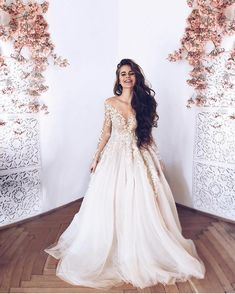 White Long Sleeves V Neck Tulle Long Prom Dresses Lace Appliques Evening Dresses For Wedding - Lace Wedding Dresses Long Sleeve Evening Dresses, Prom Dresses Long With Sleeves, Dress Long, Lace Wedding Dress With Sleeves, Ivory Dresses, Dress Formal, Dresses Uk, Dream Wedding Dresses, Wedding Gowns