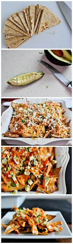 How To baked buffalo chicken nachos * These ROCKED! Just remember to not over toast the tortialla chips! We just did feta and spinach on top.