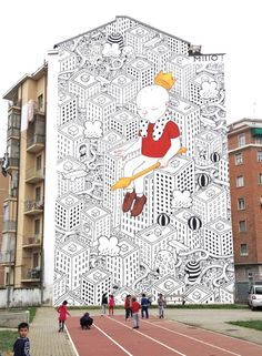 Street art by Millo Charming Large Scale Murals In Italy