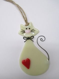 Cat Ornaments / Fused Glass by BFisherCreations on Etsy