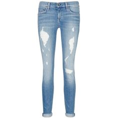 Rag & bone/jean 'The Dre' boyfriend skinny jeans ($220) ❤ liked on Polyvore featuring jeans, pants, bottoms, pants/shorts, blue, skinny jeans, destructed boyfriend jeans, destroyed boyfriend jeans, patched boyfriend jeans and slim tapered jeans