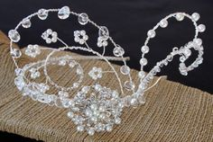 The epitome of glamour. This is an elaborate design incorporating genuine quartz, Swarovski Crystals, Swarovski Crystal Pearls and a Bridal Headpieces, Bespoke, Swarovski Crystals, Quartz, Glamour, Trending Outfits, Pearls, Unique Jewelry, Handmade Gifts