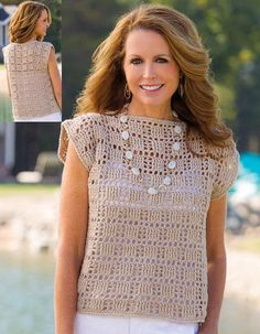 Vintage Crochet Pattern for womens Crochet Top/Tunic Worked longer i length this will make a super Beach Cover Up Medium worsted weight yarn required Instant download following payment. No resale rights (No 40)