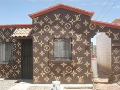 Not a dream home but just so OVER THE TOP I had to include it. A Louis Vuitton exterior to your house. Painted Exterior Doors, Exterior Paint, Exterior Colors, Louis Vuitton Accessories, Louis Vuitton Handbags, Coach Handbags, Crazy Houses, Weird Houses, Box Houses