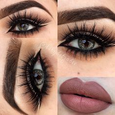 Pretty lip color and smokey eyes