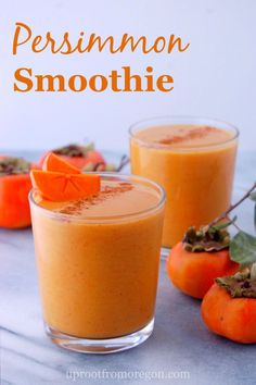 Have you tried a fuyu persimmon? This simple PERSIMMON SMOOTHIE is a great way to try the sweet fruit! | uprootfromoregon.com