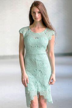 Lily Boutique Torey Eyelash Lace High Low Sheath Dress in Light Sage, $46 Light Sage Lace High Low Sheath Dress, Cute Sage Green Lace Dress, Cute Boutique Dress Online www.lilyboutique.com