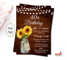 The 2262 best teens adult birthday images on pinterest fiestas 40th birthday invitations for women rustic sunflower floral mason jar wooden surprise birthday invitation custom invitation a70 filmwisefo