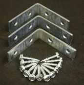 """$8.99 Standard Angle Iron, 2x2"""" 3 pack with screws. Sold in packs of 3 pieces."""