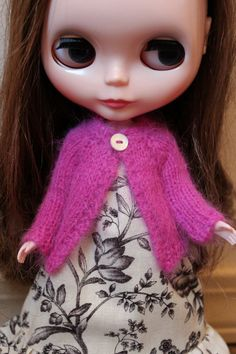 BLYTHE doll hand knit luxury angora cardigan by TiredMomKnits