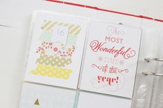 Love the washi/paper strips with the number on top. Could do for each week.