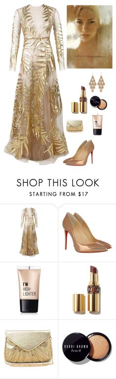 """Metallic Beauty"" by kotnourka ❤ liked on Polyvore featuring Valentino, Jennifer Lopez, Christian Louboutin, Charlotte Russe, Urban Expressions, Bobbi Brown Cosmetics and Irene Neuwirth"