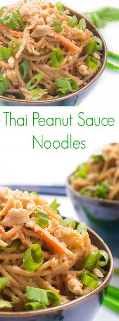 Thai Peanut Sauce Noodles - Rice noodles are tossed in a creamy Thai peanut sauce to create this naturally gluten free side dish. Made with fresh ginger, garlic and lime juice.