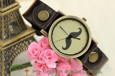 20 SALE Mustache Leather Watch WH13 by mytinyfoxalice on Etsy, $13.99