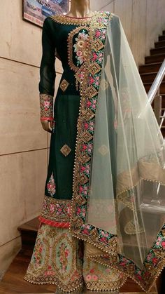 Totally heavy hand embroidery with organza dupatta beautiful wedding punjabi suit
