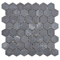SomerTile 'Ridge Hexagon Black' 11.125x11.125-inch Stone Mosaic Tiles (Pack of 5) | Overstock.com Shopping - The Best Deals on Wall Tiles